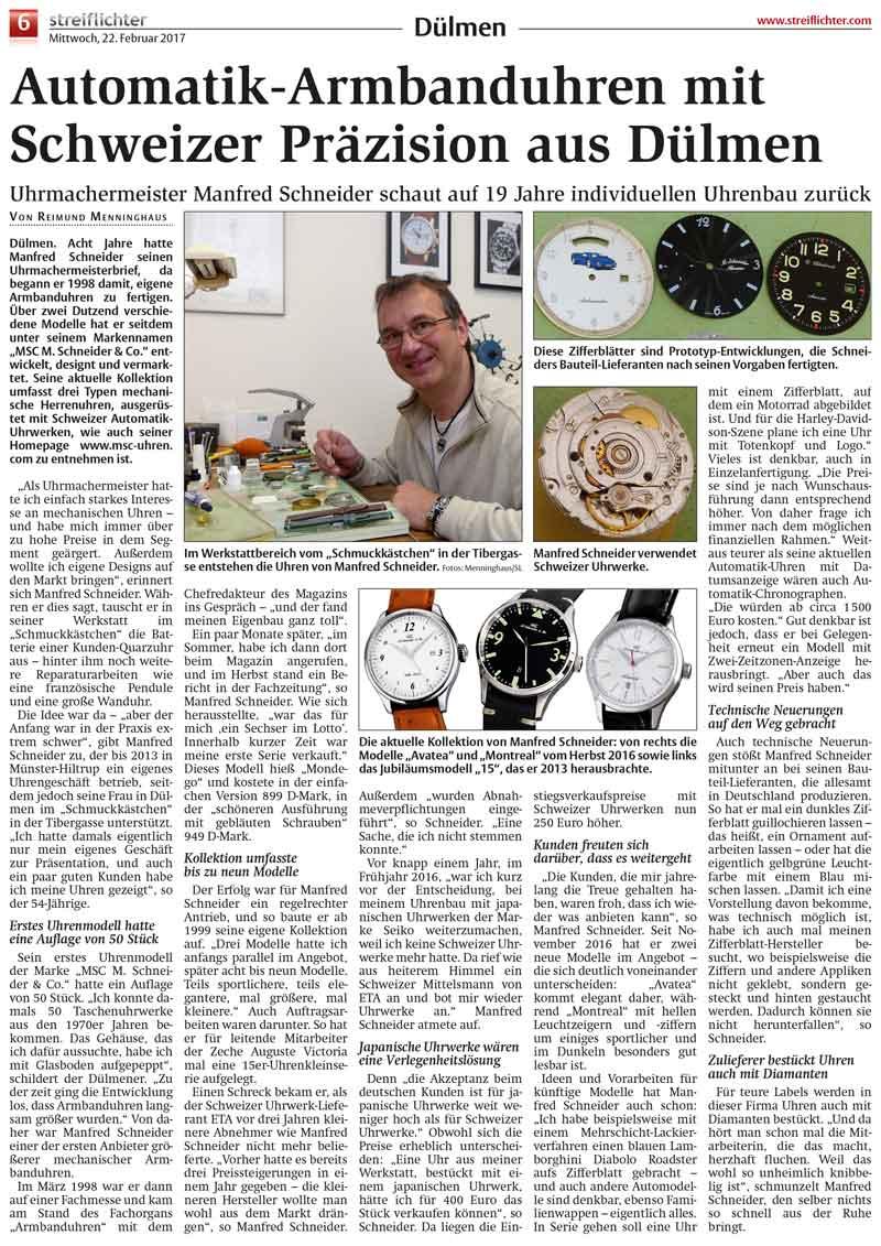 Automatik-Armbanduhren mit Schweizer Präzision aus Dülmen